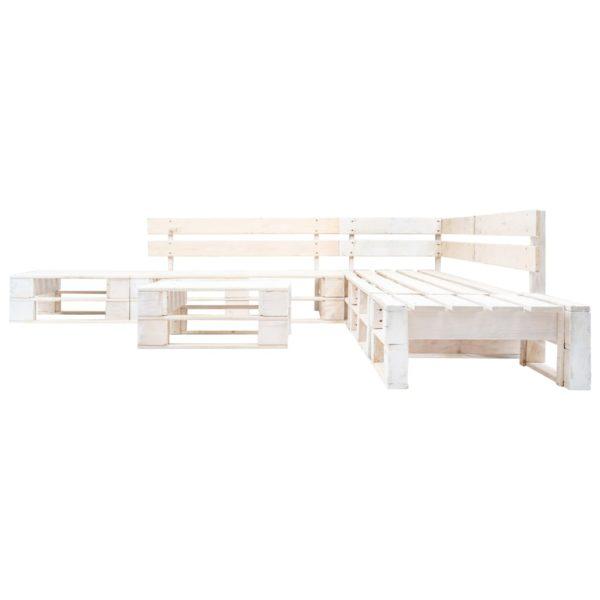 6-tlg. Garten-Paletten-Sofagarnitur Holz Weiß