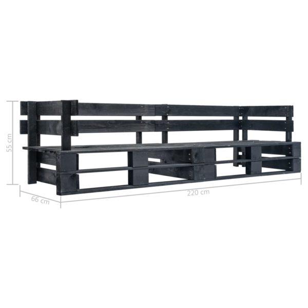 Garten-Palettensofa 2-Sitzer Schwarz Holz