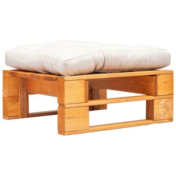Garten-Palettenhocker mit Sandfarbigem Kissen Holz Honigbraun
