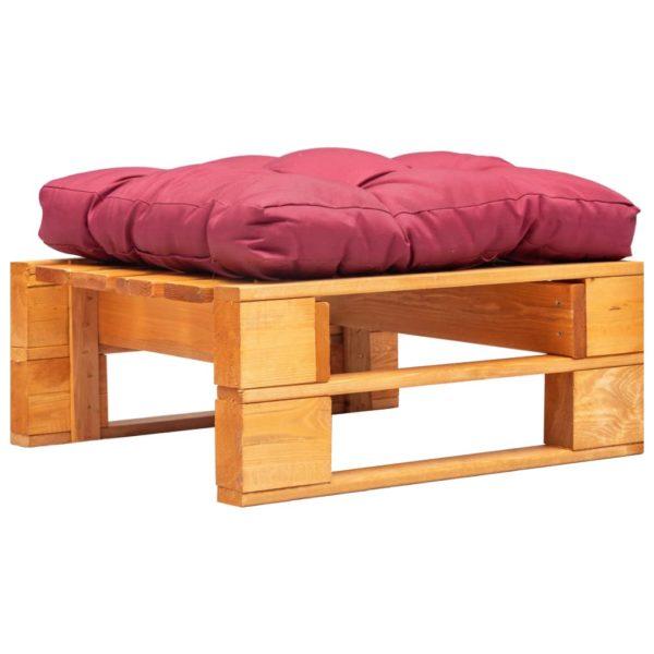 Garten-Palettenhocker mit Rotem Kissen Holz Honigbraun