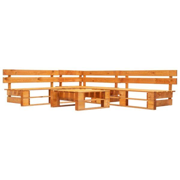 4-tlg. Garten-Paletten-Sofagarnitur Holz Honigbraun