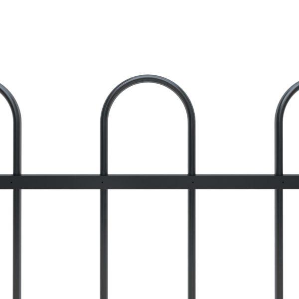 Gartenzaun mit Bügel-Design Stahl 13,6 x 1,2 m Schwarz