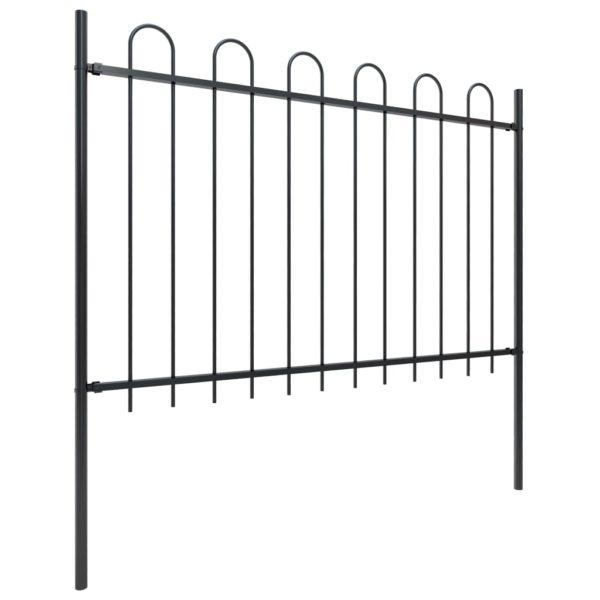 Gartenzaun mit Bügel-Design Stahl 17 x 1,2 m Schwarz