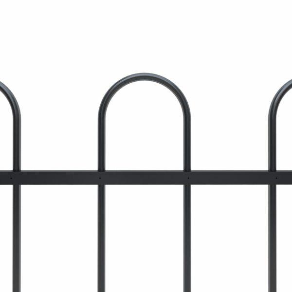 Gartenzaun mit Bügel-Design Stahl 3,4 x 1,5 m Schwarz