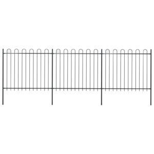 Gartenzaun mit Bügel-Design Stahl 5,1 x 1,5 m Schwarz