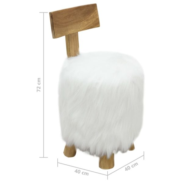 Hocker Weiß Massivholz Teak