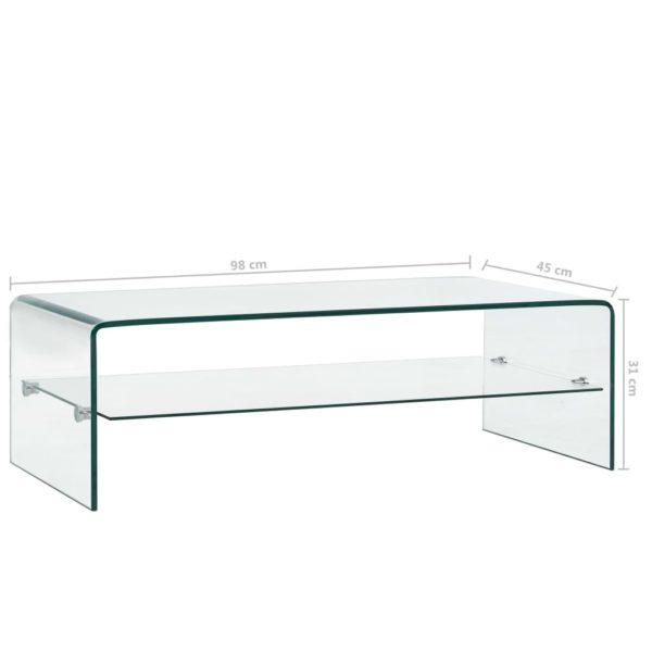 Couchtisch Transparent 98×45×31 cm Hartglas