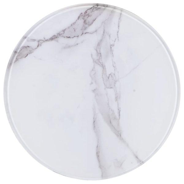 Tischplatte Weiß Ø30 cm Glas in Marmoroptik