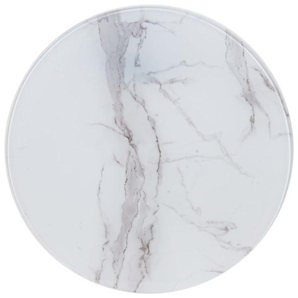 Tischplatte Weiß Ø60 cm Glas in Marmoroptik