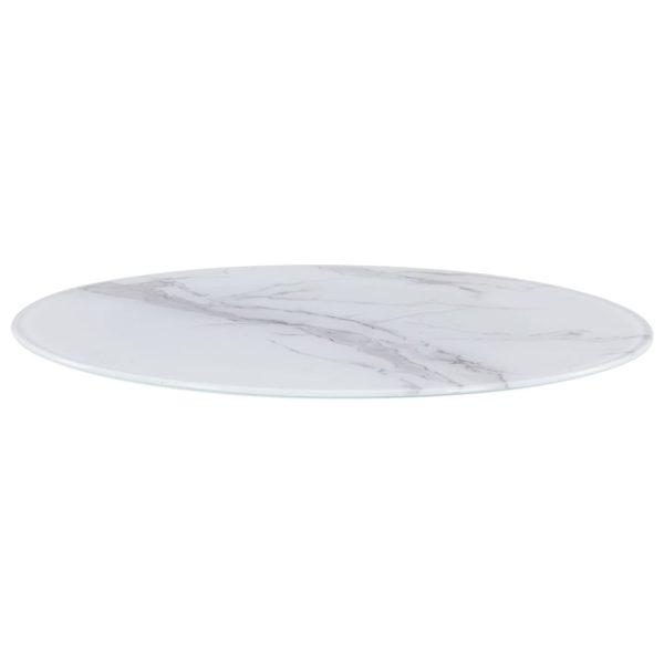 Tischplatte Weiß Ø70 cm Glas in Marmoroptik