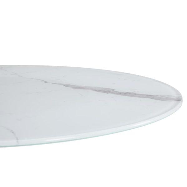 Tischplatte Weiß Ø80 cm Glas in Marmoroptik