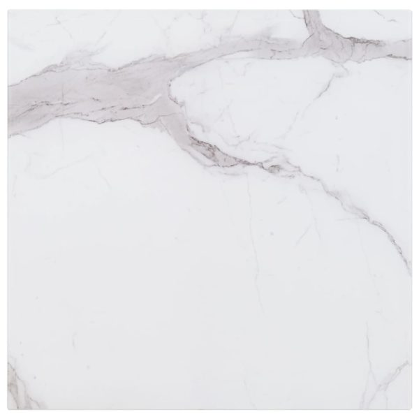 Tischplatte Weiß Quadratisch 80×80 cm Glas in Marmoroptik