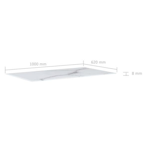 Tischplatte Weiß Rechteckig 100×62 cm Glas in Marmoroptik