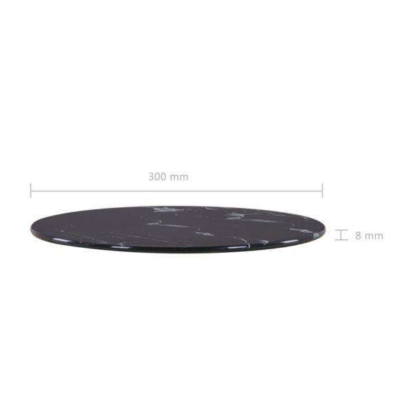 Tischplatte Schwarz Ø30 cm Glas in Marmoroptik