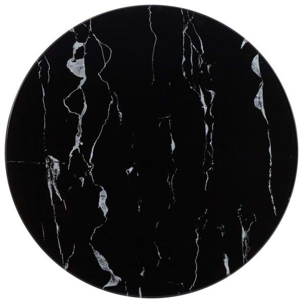 Tischplatte Schwarz Ø50 cm Glas in Marmoroptik