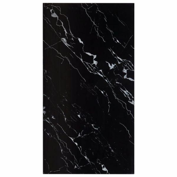 Tischplatte Schwarz Rechteckig 120×65 cm Glas in Marmoroptik