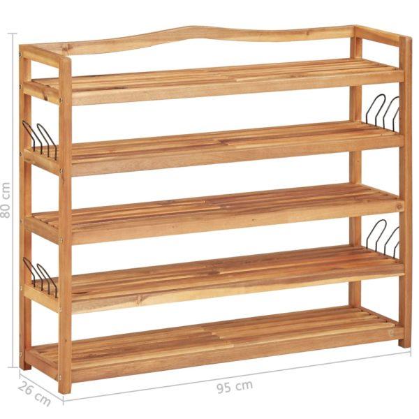 Schuhregal 5 Ebenen 95×26×80 cm Massivholz Akazie