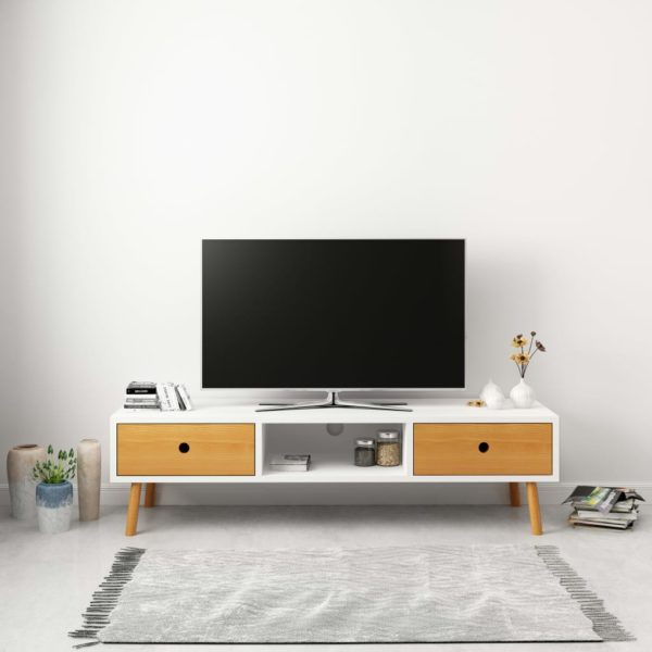 TV-Schrank Weiß 120 x 35 x 35 cm Massivholz Kiefer