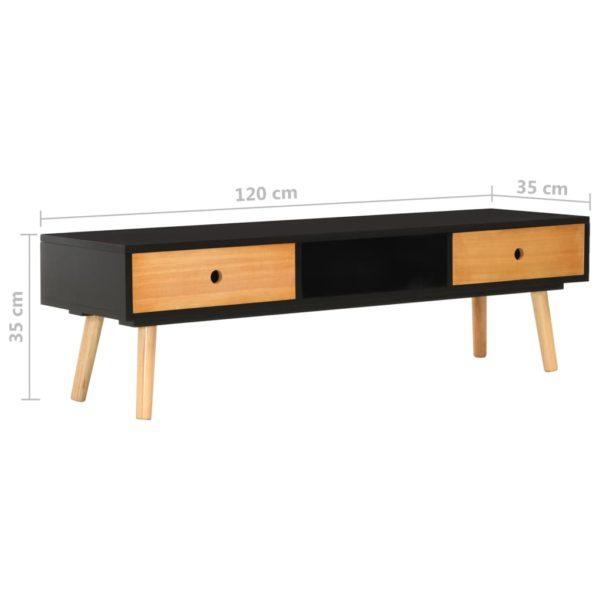 TV-Schrank Schwarz 120 x 35 x 35 cm Massivholz Kiefer