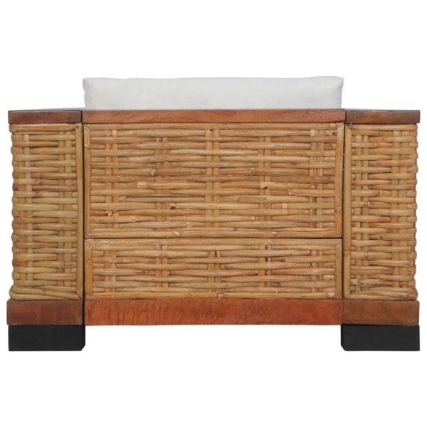 3-tlg. Sofagarnitur mit Auflagen Braun Natur Rattan