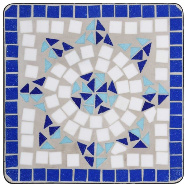 Mosaik-Beistelltisch Blau und Weiß Keramik