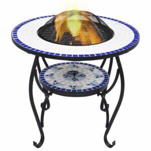 Feuerschale Mosaik Blau und Weiß 68 cm Keramik