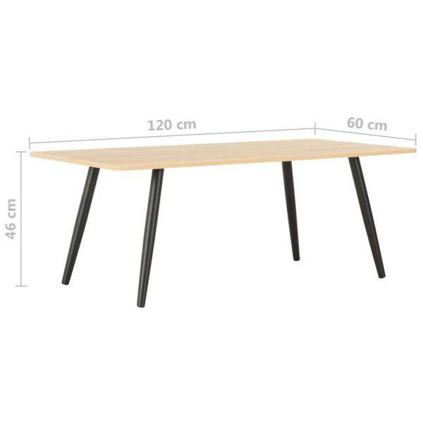 Couchtisch Schwarz und Eiche 120×60×46 cm