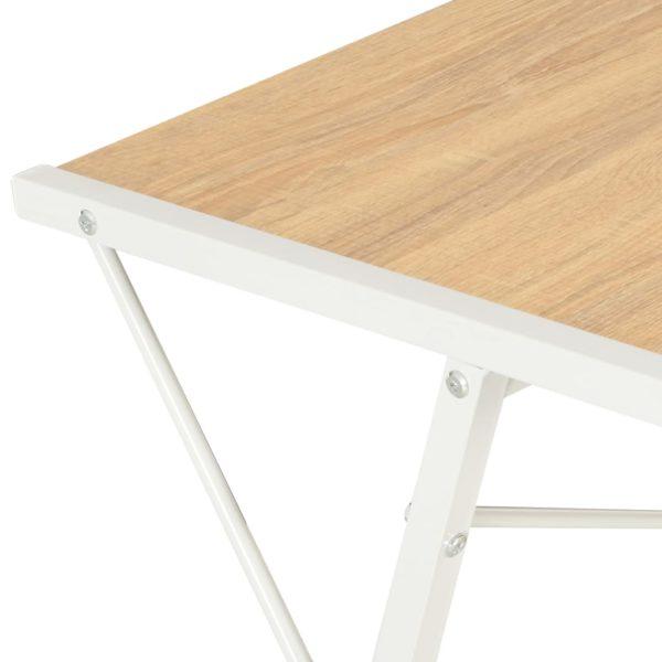 Schreibtisch mit Regal Weiß und Eiche 116×50×93 cm