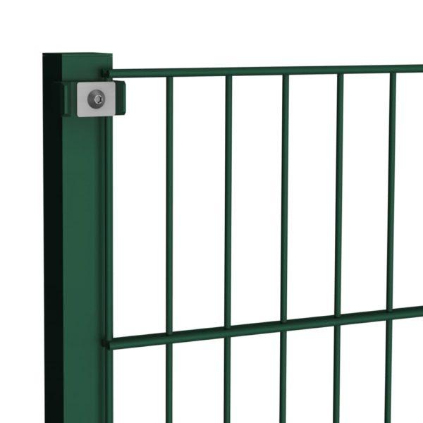 Zaunfeld mit Pfosten Eisen 13,6 x 1,2 m Grün