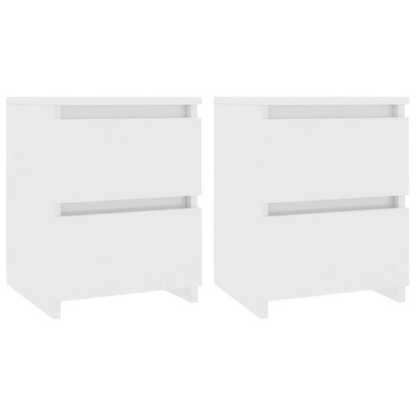 Nachttische 2 Stk. Hochglanz-Weiß 30×30×40 cm Spanplatte