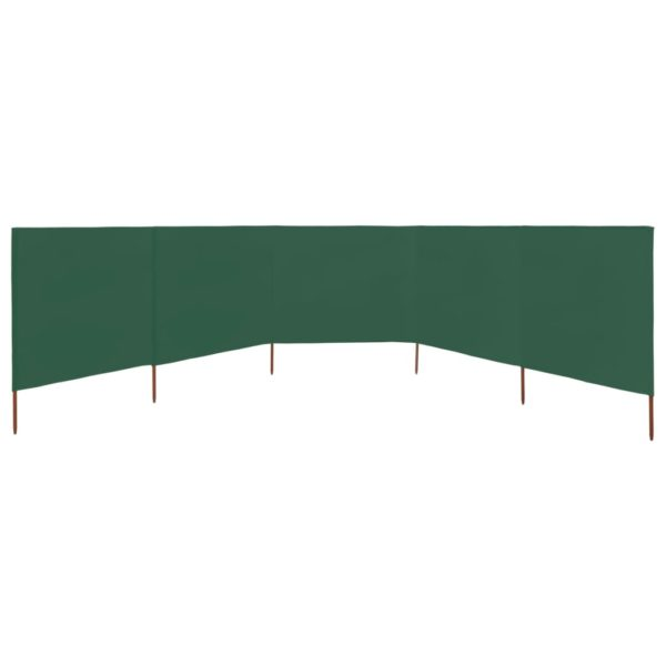 5-teiliges Windschutzgewebe 600 x 120 cm Grün
