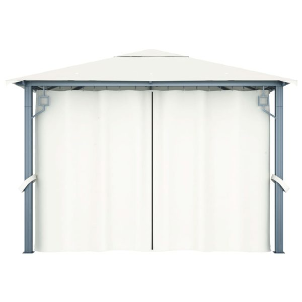 Pavillon mit Vorhängen 300 x 300 cm Creme Aluminium