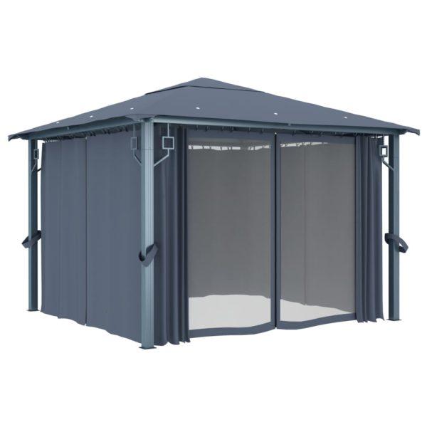 Pavillon mit Vorhängen 300×300 cm Anthrazit Aluminium