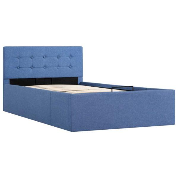 Stauraumbett Hydraulisch Blau Stoff 90 x 200 cm