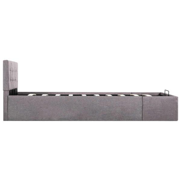 Stauraumbett Hydraulisch Taupe Stoff 100×200 cm