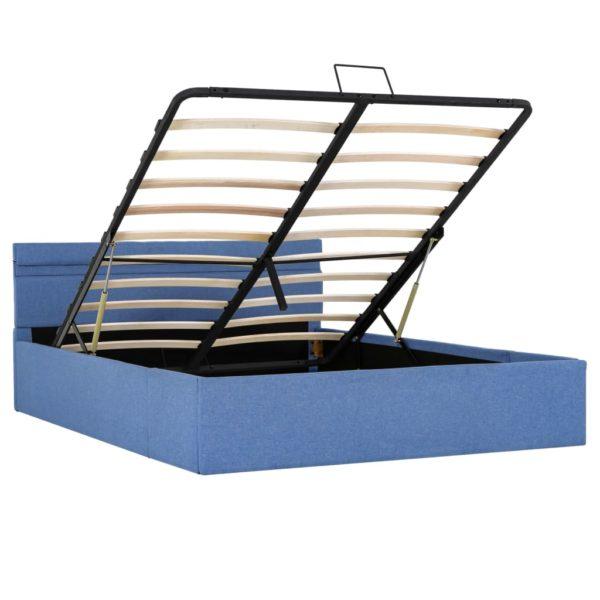 Stauraumbett Hydraulisch mit LED Blau Stoff 120 x 200 cm