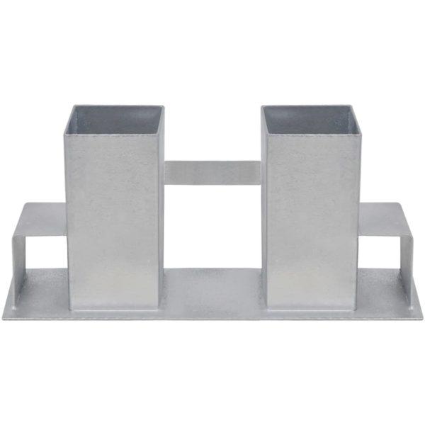 Holzstapelhalter 8 Stk. Stahl Silbern