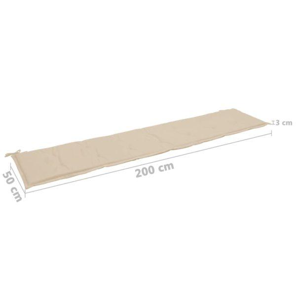 Gartenbank-Auflage Beige 200×50×3 cm