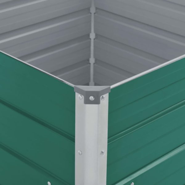 Hochbeet 100 x 100 x 45 cm Verzinkter Stahl Grün