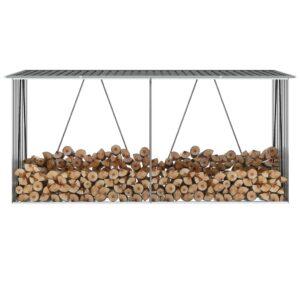 Brennholzlager Verzinkter Stahl 330x84x152 cm Anthrazit