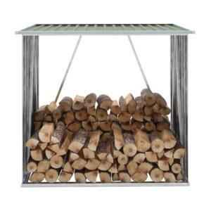 Brennholzlager Verzinkter Stahl 163 x 83 x 154 cm Grün
