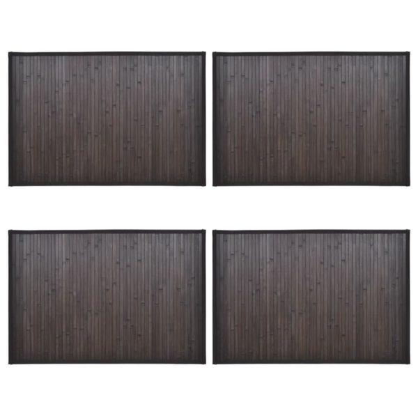 Bambus-Badezimmermatten 4 Stk. 60×90 cm Dunkelbraun