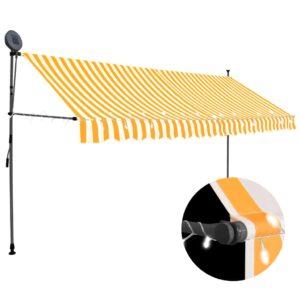 Einziehbare Markise Handbetrieben mit LED 350 cm Weiß Orange