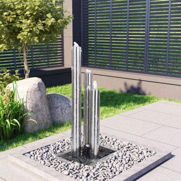 Gartenbrunnen Silbern 48 x 34 x 88 cm Edelstahl