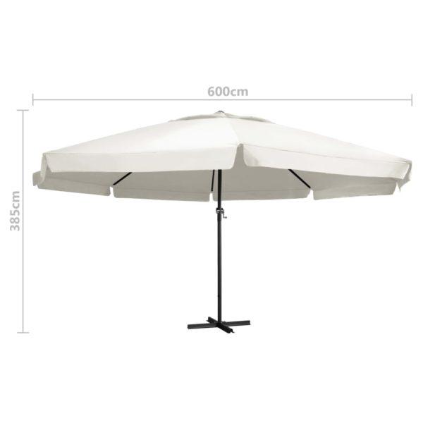 Sonnenschirm mit Aluminium-Mast 600 cm Sandweiß