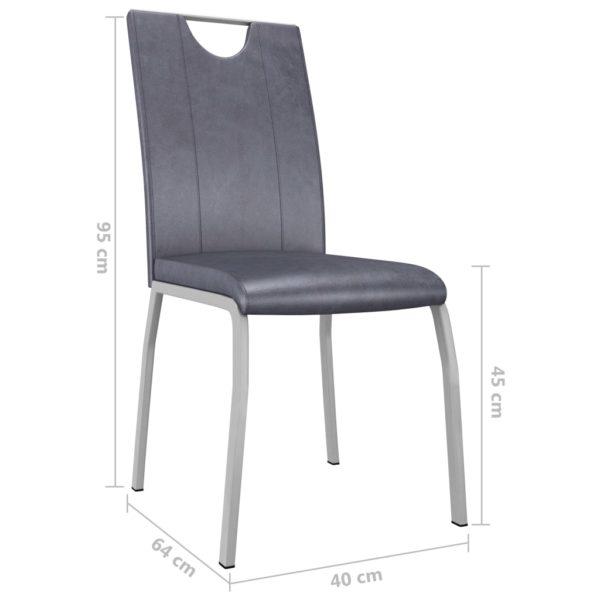Esszimmerstühle 2 Stk. Wildleder-Grau Kunstleder