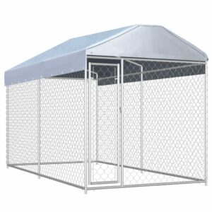 Outdoor-Hundezwinger mit Überdachung 382x192x225 cm