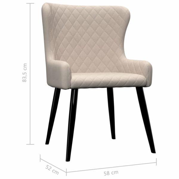Esszimmerstühle 6 Stk. Cremeweiß Stoff