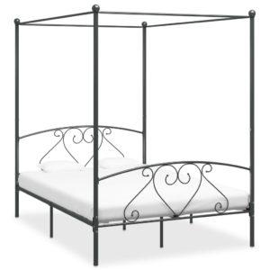 Himmelbett-Gestell Grau Metall 160 x 200 cm