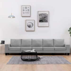 5-Sitzer-Sofa Hellgrau Stoff